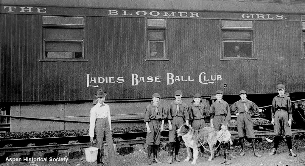 The Ladies Baseball Club of Denver in Aspen in 1989. Female baseball teams often traveled by train.