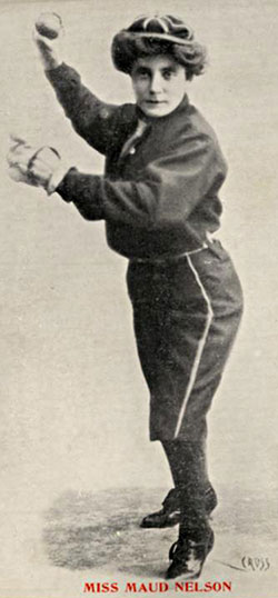 Female baseball teams star Maud Nelson pitches in 1898.