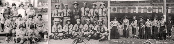 Team photos of 'Bloome'r female baseball teams at the turn of the 20th century.