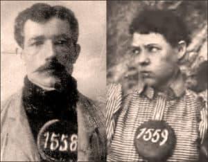 1899 mugshots of Joe Boot and Pearl Hart